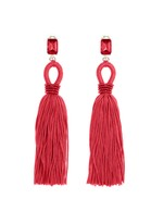 Oscar de la Renta Ruby Long Silk Tassel with Loop Earrings