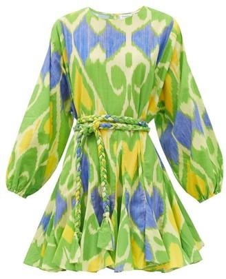 Rhode Resort Ella Belted Ikat-print Cotton Mini Dress - Green Print