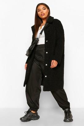 boohoo Plus Teddy Faux Fur Longline Coat