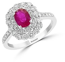 Bloomingdale's Ruby & Diamond Halo Ring in 14K White Gold - 100% Exclusive