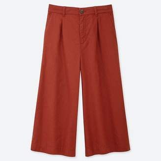 Uniqlo WOMEN Linen Cotton Wide Cropped Pants