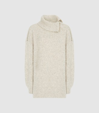 Reiss Cassie - Zip Detail Roll Neck Jumper in Grey