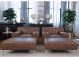 Elements Fine Home Furnishings Industrial Chestnut Brown Top Grain Leather 4-Piece Chair and Ottoman Set