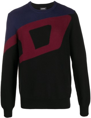 Diesel K-Zack colour-block cotton jumper