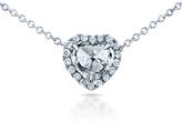 Kobelli Jewelry Kobelli 5/8 CT TW Heart-Cut Diamond 14K White Gold Halo Pendant Necklace