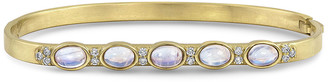 Dominique Cohen 18k Yellow Gold Moonstone Ovals & Diamond Hinged Bangle, Size S