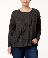 INC International Concepts Plus Size Ruffle-Front Sweatshirt, Created for Macy's