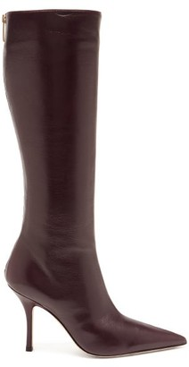 Paris Texas Mama Leather Knee-high Boots - Burgundy