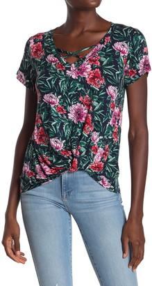 Bobeau Short Sleeve Crisscross Twist Front T-Shirt