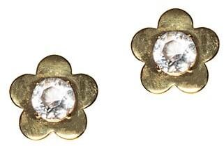 Lele Sadoughi Petal-Frame 14K Goldplated Glass Crystal Stud Earrings