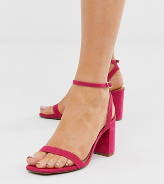 Barely There ASOS DESIGN Wide Fit Hong Kong block heeled sandals in magenta