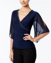 MSK Embellished Flutter-Sleeve Faux-Wrap Top