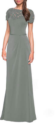 La Femme Bateau-Neck Short-Sleeve Jersey Column Gown w/ Laser-Cut Flowers