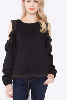 Sugar Lips Ruffle Cold Shoulder Top