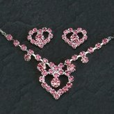 Gc Handcrafted Silver and Pink Crystal Heart Necklace and Earrings Set