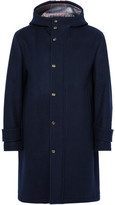 Thom Browne Striped Wool Hooded Coat - Midnight blue