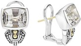 Lagos 18K Gold and Sterling Silver Caviar Color Stud Huggie Drop Earrings with White Topaz