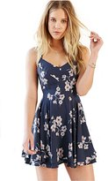 MIXMAX Women Flare Floral Cross Back Double Layer Mini A-line Dress Sundress