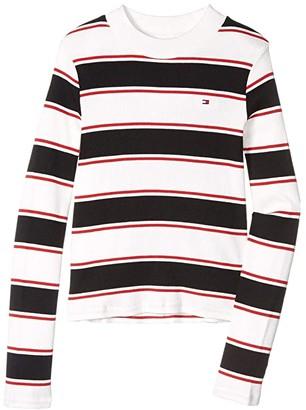 Tommy Hilfiger Mock Neck Stripe Top (Big Kids) (Mock White) Girl's Dress