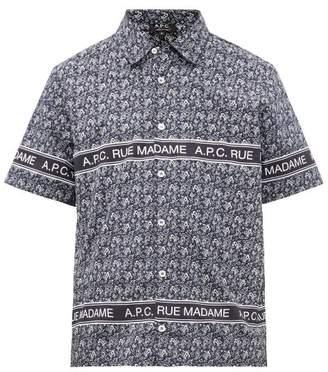 A.P.C. Logo And Paisley-print Cotton Shirt - Mens - Navy