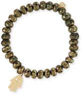 Sydney Evan 8mm Champagne Pyrite Beaded Bracelet with 14K Hamsa Charm