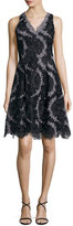 Kay Unger New York Sleeveless Printed Floral Lace Cocktail Dress, Black/Gunmetal