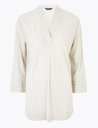 Marks and Spencer Striped V-Neck Long Sleeve Top