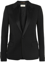 Saint Laurent Satin-trimmed Wool-piqué Tuxedo Blazer - Black