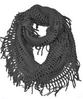 Hue HUE21 Women's Fringe Knitted Crochet Cutout Infinity Scarf Color