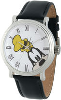 disney watches for men shopstyle disney collection mens vintage goofy black leather strap watch