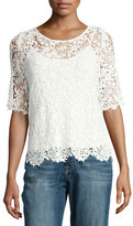 Velvet Colleen Floral Lace Half-Sleeve Top, White