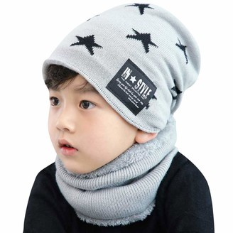 Tuopuda 2 Pieces Kids Hat and Scarf Set Winter Warm Chunky Knitted Beanie Hat Fleece Lining Circle Scarves for Children