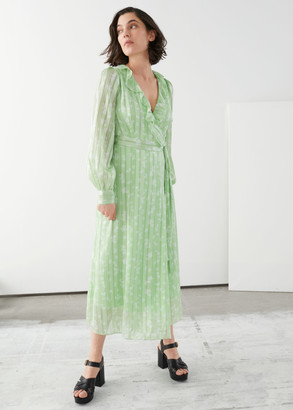 And other stories Ruffled Jacquard Midi Wrap Dress
