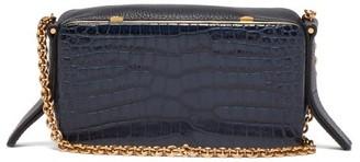 Lutz Morris Elise Crocodile-effect Leather Shoulder Bag - Navy