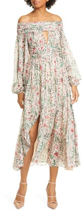 AMUR Daria Floral Off the Shoulder Long Sleeve Silk Midi Dress