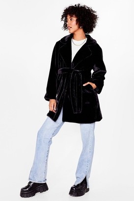 Nasty Gal Womens Can't Touch This Belted Faux Fur Coat - Black - 8