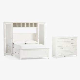 Pottery Barn Teen Hampton Storage Bed with Vanity Towers & 5-Drawer Dresser Set