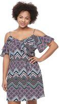 Candies Juniors' Plus Size Candie's® Print Ruffle Cold-Shoulder Dress
