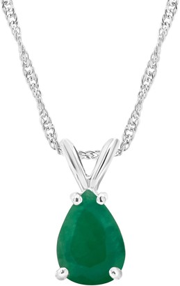 0.60 cttw Emerald Pendant w/ Chain, Sterling Silver