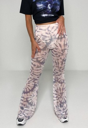 Missguided Pink Tie Dye Flare Mesh Pants
