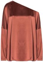 Tibi One Shoulder Silk Top