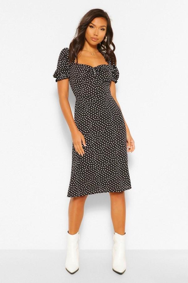 boohoo Polka Dot Woven Puff Sleeve Midi Dress