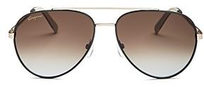 Salvatore Ferragamo Men's Classic Brow Bar Aviator Sunglasses, 59mm