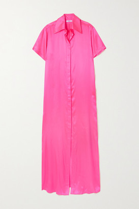 Area Neon Silk-satin Maxi Shirt Dress - Pink