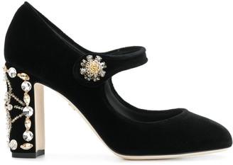 Dolce & Gabbana crystal embellished velvet Mary Janes