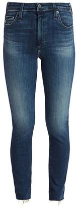 AG Jeans Mari High-Rise Slim-Fit Straight-Leg Raw Hem Jeans