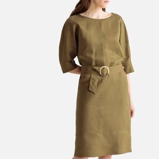 La Redoute Collections Linen Mix Tie-Waist Shift Dress