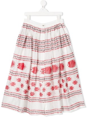 Caffe' D'orzo Pleated Print Skirt