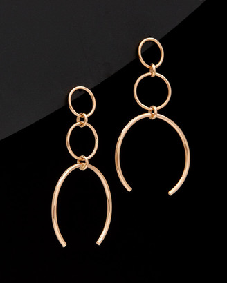 Italian Gold 14K Rose Gold Graduated Triple Circle Drop Earrings