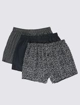 Marks and Spencer 3 Pack Pure Cotton Easy to Iron Grid Paisley Print Boxers